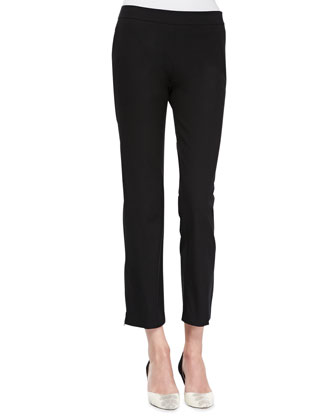 Organic Twill Slim Ankle Pants, Black, Women's