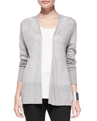 Linen Long Open Cardigan, Pewter