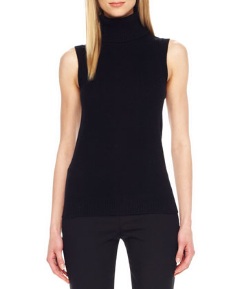 Rib-Trim Sleeveless Turtleneck