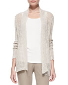 Airy Linen Grain Cardigan, Pebble