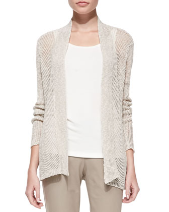 Airy Linen Grain Cardigan, Long Slim Camisole, Twill Slim Ankle Pants & ...