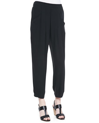 Printed Silk Asymmetric Draped Shell & Slouchy Silk Ankle Pants, Petite