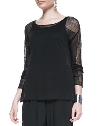 Long-Sleeve Lace Hemp Top, Petite