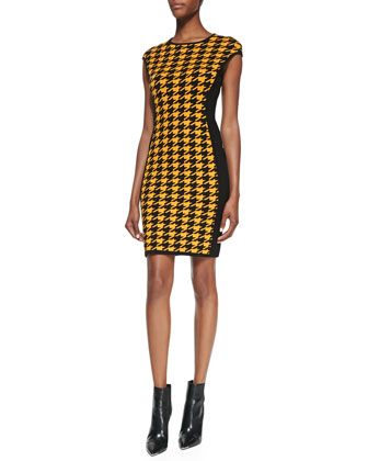 Houndstooth Formfitting Dress, Taxicab