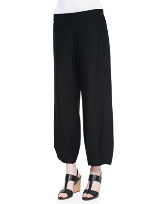 Linen Delave Box Top & Lantern Wide-Leg Ankle Pants