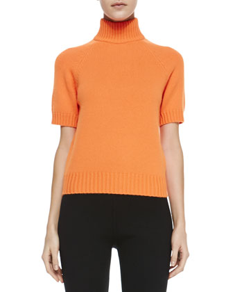 Mock-Neck Short-Sleeve Sweater, Neon Orange