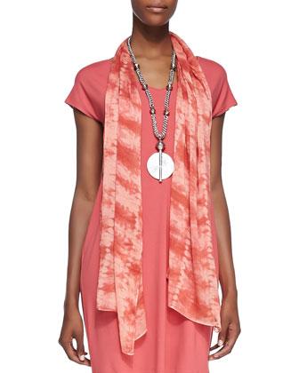 V-Neck Cap-Sleeve Shift Dress & Sheer Painterly Scarf