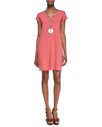 V-Neck Cap-Sleeve Shift Dress, Petite