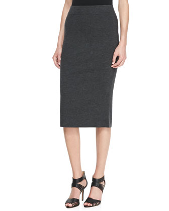 Knee-Length Pencil Skirt, Charcoal