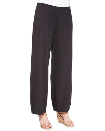 3/4-Sleeve Hemp Twist Top & Lantern Wide-Leg Ankle Pants, Women's