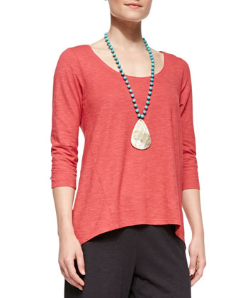 3/4-Sleeve Hemp Twist Top, Petite