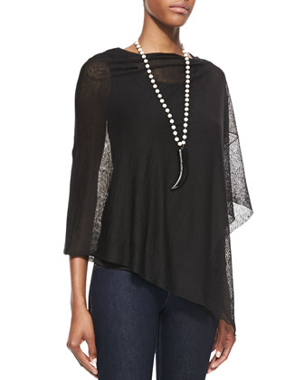 Sheer Lace Poncho & Stretch Silk Jersey Tank