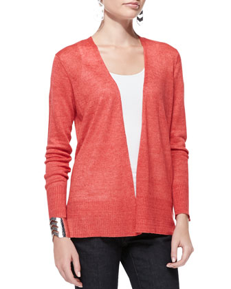 Linen Long Open Cardigan, Petite