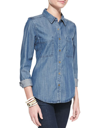 Long-Sleeve Denim Shirt, Petite