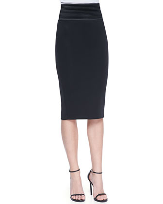 Quorra Trapunto-Stitch Pencil Skirt