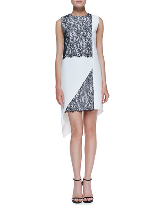 Geo-Lace Two-Tone Dress