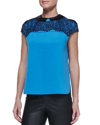 Lace-Top Leather-Collar Blouse & Stretch Leather Leggings