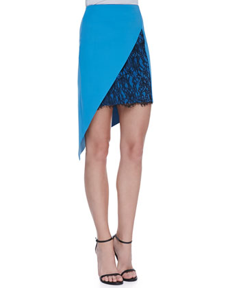 Geo-Lace Inset Ponte Skirt