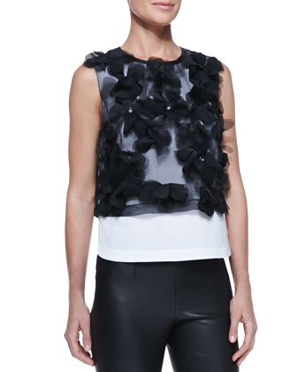 Floral-Applique Sleeveless Top