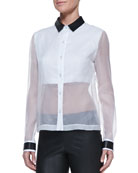 Leather-Collar Sheer/Solid Organza Blouse