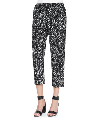 Silk Chalk-Print Track Pants