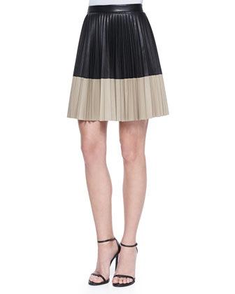 Colorblock Pleated Leather Skirt