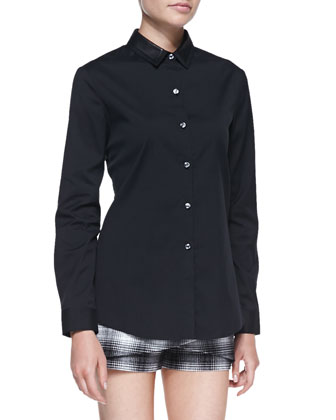 Buttoned Leather-Collar Shirt