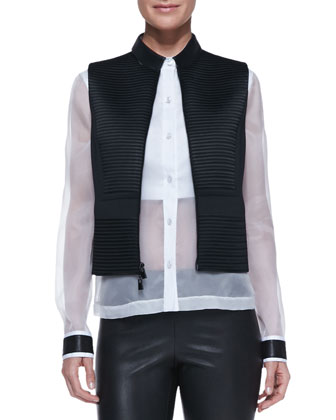 Quorra Texture-Stripe Vest, Leather-Collar Sheer/Solid Organza Blouse & ...