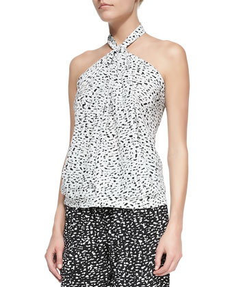 Silk Chalk-Print Halter Top