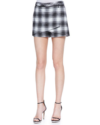 Buttoned Leather-Collar Shirt & Plaid-Flannel Wrap Shorts