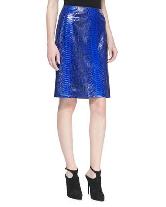 Glazed Python A-line Skirt, Sapphire