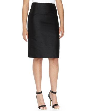 Shantung Pencil Skirt, Black, Women's