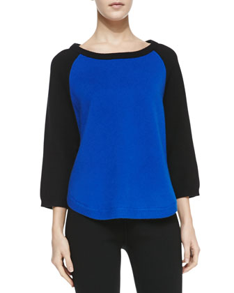 Cashmere-Blend Colorblock Raglan Tunic, Royal