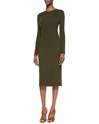 Formfitting Stretch-Wool Dress, Olive