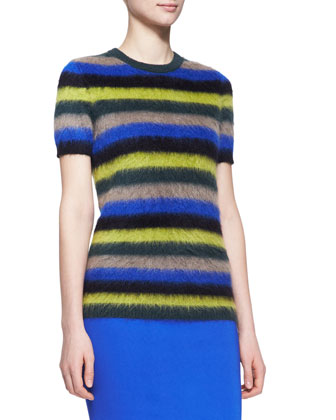 Striped Mohair Short-Sleeve Sweater