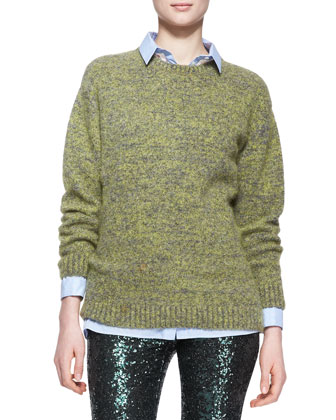 Wool-Blend Knit Pullover Sweater
