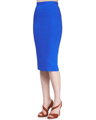 Striped Mohair Short-Sleeve Sweater & Bright Cady Arch-Seam Pencil Skirt