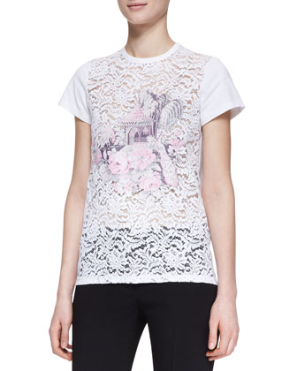 Cotton Lace/Knit Graphic Tee