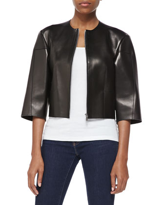 Calfskin Leather Cropped Jacket