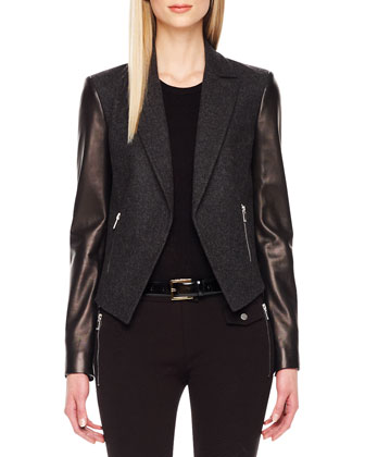 Leather-Sleeve Blazer