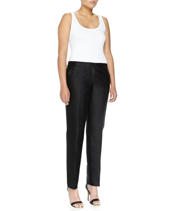 Samantha Slim Shantung Pants, Black, Women's