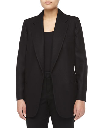 Long-Sleeve Notched Oversized Wool Blazer, Women's