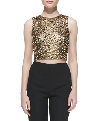 Pebbled & Studded Cropped Shell