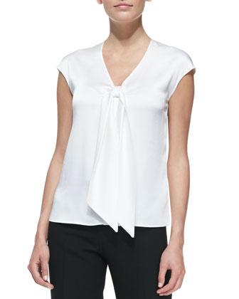 Sleeveless Tie-Front Charmeuse Top, Optic White