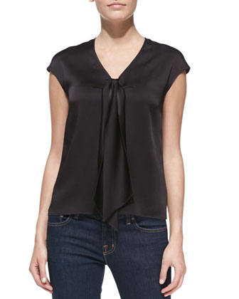 Sleeveless Tie-Front Charmeuse Top, Black
