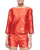 Agate-Print Shantung Cropped Tunic