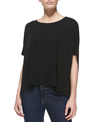 Jersey Scoop-Neck Tunic, Black