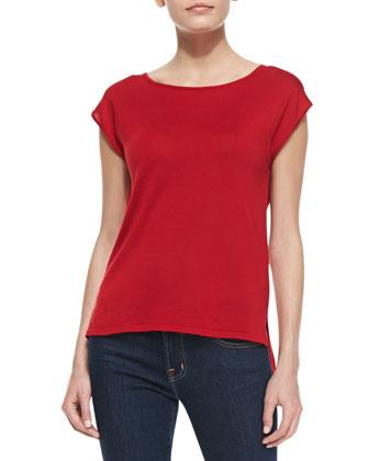 Cap-Sleeve Silk Jersey Tee, Crimson