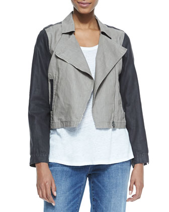 Coated Moto Asymmetric-Zip Jacket