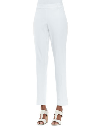 Organic Stretch Slim Twill Trousers, White, Women's